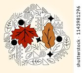 doodle  on fall  autumn leaves  ... | Shutterstock .eps vector #1143981296