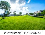 green lawn with city skyline in ... | Shutterstock . vector #1143993263