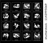 set of 16 icons such as bullet...