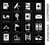 set of 16 icons such as world...