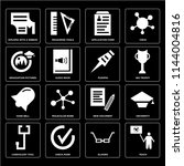 set of 16 icons such as teach ...