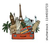 suitcase with world landmarks... | Shutterstock .eps vector #1144010723