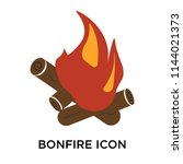 bonfire icon vector isolated on ... | Shutterstock .eps vector #1144021373