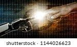 robot and human finger touching ... | Shutterstock . vector #1144026623