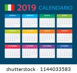 calendar 2019   italian version ... | Shutterstock .eps vector #1144033583