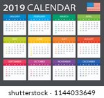 calendar 2019   american... | Shutterstock .eps vector #1144033649