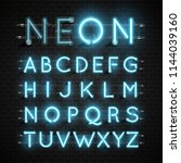 high detailed neon font set ... | Shutterstock .eps vector #1144039160