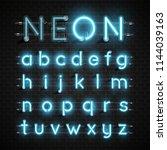 high detailed neon font set ... | Shutterstock .eps vector #1144039163
