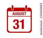 31 august calendar red icon.... | Shutterstock .eps vector #1144043063