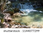 beautiful waterfall in nature | Shutterstock . vector #1144077299