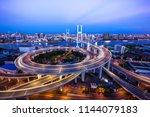 beautiful night view of nanpu... | Shutterstock . vector #1144079183