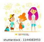 pupils characters communication.... | Shutterstock .eps vector #1144083953