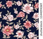 seamless flower pattern on navy | Shutterstock .eps vector #1144094369
