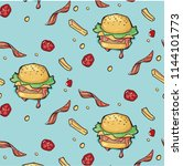 pattern fast food. hamburger... | Shutterstock . vector #1144101773