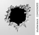 dark destruction cracked hole...   Shutterstock . vector #1144106303