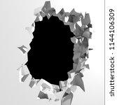 dark destruction cracked hole...   Shutterstock . vector #1144106309