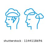 head profile with storm cloud... | Shutterstock . vector #1144118696