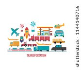 transport icons in flat design...   Shutterstock .eps vector #1144140716