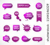 vector stickers  price tag ... | Shutterstock .eps vector #1144146329