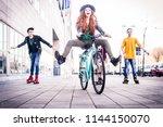 multi ethnic group of teens... | Shutterstock . vector #1144150070
