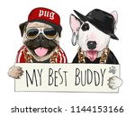 funny cartoon dogs holding sign ... | Shutterstock .eps vector #1144153166