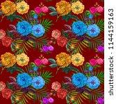 tropical floral seamless vector ... | Shutterstock . vector #1144159163