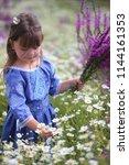 ittle girl with flowers | Shutterstock . vector #1144161353