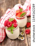 yogurt with fruit | Shutterstock . vector #1144162289