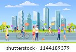 people walking on the city... | Shutterstock .eps vector #1144189379