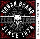 t shirt graphics  skull print ... | Shutterstock .eps vector #1144200710