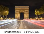 arch de triomphe and champs... | Shutterstock . vector #114420133