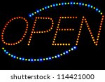 Glowing Led Open  Sign On A...
