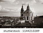 prague skyline rooftop view... | Shutterstock . vector #1144213289