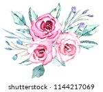 vintage bouquet. watercolor... | Shutterstock . vector #1144217069