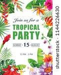 tropical hawaiian party...   Shutterstock .eps vector #1144226630
