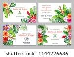 tropical wedding invitation... | Shutterstock .eps vector #1144226636