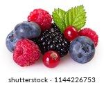 fresh berries isolated on white ... | Shutterstock . vector #1144226753