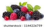 fresh berries isolated on white ... | Shutterstock . vector #1144226759