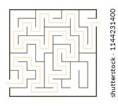 simple maze with path solution | Shutterstock .eps vector #1144231400