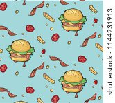 fast food pattern. hamburger... | Shutterstock .eps vector #1144231913