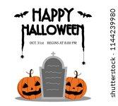 happy halloween day    bat and... | Shutterstock .eps vector #1144239980