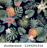 tropical seamless pattern with... | Shutterstock .eps vector #1144241516