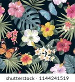 tropical seamless pattern with... | Shutterstock .eps vector #1144241519