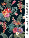 tropical seamless pattern with... | Shutterstock .eps vector #1144241540