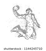 basketball player in a jump... | Shutterstock .eps vector #1144245710
