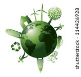 green planet with ecology icons ... | Shutterstock .eps vector #114426928