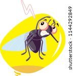 scared fly insect vector... | Shutterstock .eps vector #1144292849