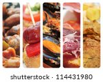 a collage of nine pictures of different spanish tapas and dishes, as escargots, sausage and pepper pintxos, mejillones in marinara sauce, serrano ham and cod fritters - stock photo