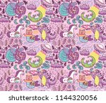 pink background with fantastic... | Shutterstock .eps vector #1144320056