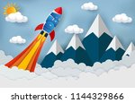 space shuttle launch to the sky.... | Shutterstock .eps vector #1144329866